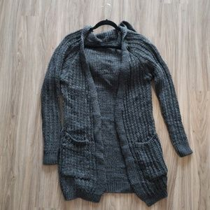 Long Sleeve Hooded Knit Open Cardigan
